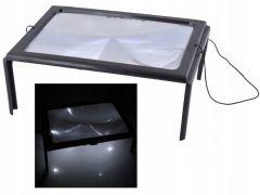 Suport cu Lupa A4 pentru citit cu Iluminat 4 LED-uri, marire 3x, tip masuta cu picioare pliabile
