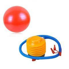 Set Pompa + Minge pentru Fitness, Recuperare sau Gimnastica, Diametru 55cm, Culoare Rosu