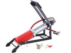 Pompa de picior cu manometru 7 bar/100PSI pentru biciclete + 2 capete incluse, culoare Rosu