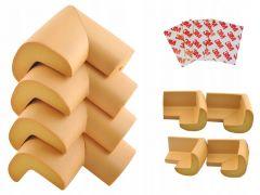 Set 4 x protectie colturi mobilier, culoare Maro deschis