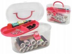 Set accesorii pentru cusut cu ace, ata, nasturi, centimetru, degetar, foarfeca si cutie depozitare