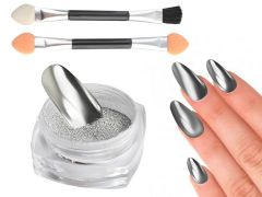 Set pigment pudra cu efect de oglinda pentru unghii argintiu + 2 aplicatoare