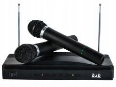 Set pentru Karaoke cu 2 Microfoane Wireless si Receptor, Culoare Negru