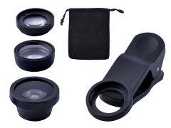 Set Lentile Obiectiv 3-in-1 pentru Foto Telefoane sau Tablete, culoare Negru