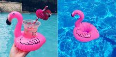 Suport colac gonflabil pentru bauturi sau accesorii piscina tip Flamingo, culoare Roz