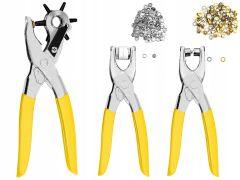 Set 3 Clesti pentru Perforat si Capsat + 100 Capse si 100 Elemente Decorative pentru Textile sau Piele