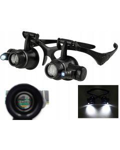 Ochelari cu Lupa si Lumina LED pentru Cesornicarie si Electronica Fina, Marire Lupa 20x