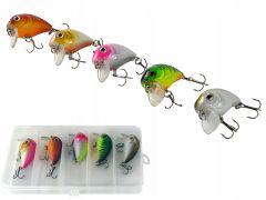 Set vobler cu carlige pentru pescuit, 5 bucati + Carcasa Organizator