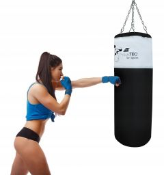 Sac de Box pentru Antrenament cu Suport de Prindere, Dimensiuni 130x35cm, Culoare Negru/Alb