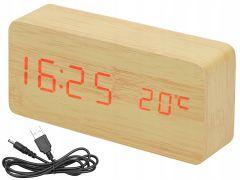 Ceas digital din MDF si PVC cu senzor sunet, alarma, afisaj LCD ora, data si temperatura + cablu USB