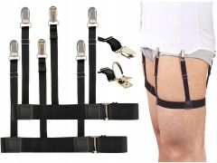 Set suspensor - bretele barbati ajustabile pentru camasa, maiou sau tricou, culoare Negru