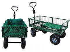 Carucior Metalic Transport Manual pentru Curte sau Gradina cu Husa Detasabila, Capacitate 350kg