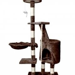 Ansamblu de Joaca pentru Pisici tip Turn, 5 Nivele cu Jucarie, Inaltime 118cm, Culoare Maro