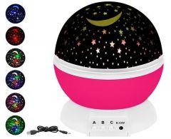 Lampa de Veghe Proiector Stelar 360 grade, Roz