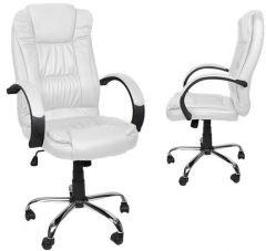 Scaun de birou directorial, din piele ecologica, reglabil si rotativ, baza cromata, culoare alb