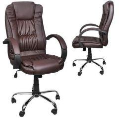 Scaun de birou directorial, din piele ecologica, reglabil si rotativ, baza cromata, culoare maro