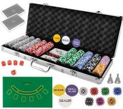 Set Joc de Poker cu 500 Jetoane, Valiza Metalica si Accesorii