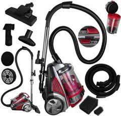Aspirator fara sac Malatec, 800W, Sistem Multi Cyclon, 4L, Clasa A, filtru HEPA, Rosu/Negru