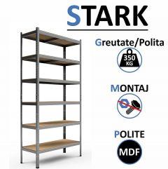 Raft Metalic Ranforsat pentru Depozitare Obiecte Grele cu 6 Polite, Capacitate 350kg/polita, Total 2100kg, Dimensiuni 220x100x45cm
