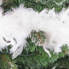 Ghirlanda artificiala decorativa din pene pentru Craciun, lungime 1.8m, alb