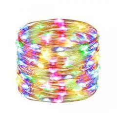 Instalatie luminoasa LED de Craciun, 100 led-uri, multicolor, 10m, Alimentare Baterii 3xAA
