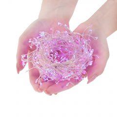 Instalatie luminoasa LED de Craciun, 300 led-uri, cu 8 functii, 3m, roz