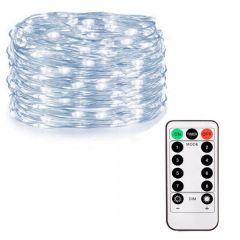 Instalatie luminoasa LED de Craciun, 100 led-uri, cu 8 functii, lumina alb-rece, 10m