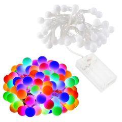 Instalatie luminoasa LED de Craciun, 50 led-uri, multicolor, 10m, Alimentare Baterii 3xAA