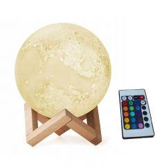 Lampa LED model Luna 3D lumina RGB cu suport din lemn si telecomanda
