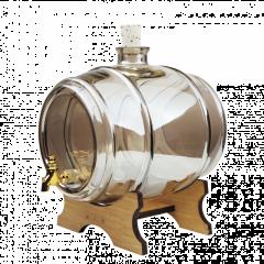 Damigeana Tip Butoi din Sticla cu Robinet, Capacitate 2L, Culoare Fumuriu + Suport de Lemn