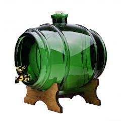 Damigeana Tip Butoi din Sticla cu Robinet, Capacitate 2L, Culoare Verde + Suport de Lemn