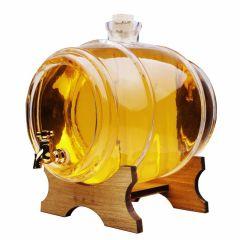 Damigeana Tip Butoi din Sticla cu Robinet, Capacitate 4L, Sticla transparenta + Suport de Lemn
