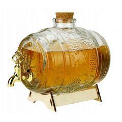 Damigeana Tip Butoi din Sticla cu Robinet si Imprimeuri, Capacitate 500ml + Suport de Lemn