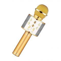 Microfon Wireless, Bluetooth cu Difuzor si Efecte pentru Karaoke, USB, AUX, MicroSD, Auriu