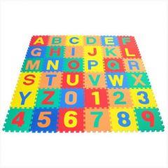 Covoras Puzzle Educativ pentru Copii, 36 Piese din Spuma cu Imprimeu Litere si Cifre