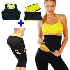 Set Fitness Pantaloni + Bustiera + Centura Hot Shapers din Neopren pentru Slabit si Modelare Corporala, Marimea L