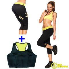 Set Fitness Pantaloni + Bustiera Hot Shapers din Neopren pentru Slabit si Modelare Corporala, Marimea L