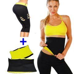 Set Fitness Pantaloni + Centura Hot Shapers din Neopren pentru Slabit si Modelare Corporala, Marimea L