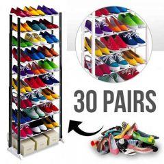 Suport Raft pentru Depozitare Incaltaminte, Capacitate 30 Perechi de Pantofi, Culoare Negru