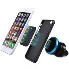 Suport telefon magnetic universal cu sistem de reglare a unghiului de inclinare, culoare Negru/Albastru