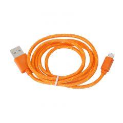 Cablu de date / incarcator USB invelit in material textil pentru Apple iPhone, lungime 2m, Culoare Portocaliu