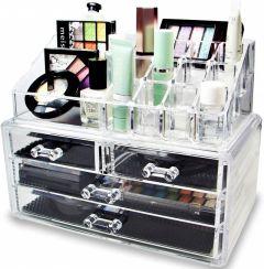 Organizator dulapior transparent pentru produse cosmetice si bijuterii, 16 compartimente + 4 sertare