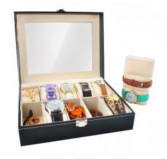 Cutie caseta eleganta pentru 10 ceasuri, bijuterii sau bratari