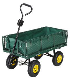 Carucior Metalic Transport Manual pentru Gradina sau Curte cu Maner si Husa Detasabila, 4 Roti, Capacitate 500kg