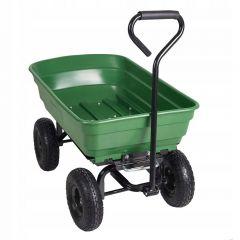 Carucior Transport Manual pentru Gradina sau Curte cu Maner, 4 Roti, Capacitate 500kg