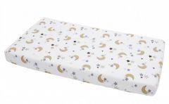 Cearceaf din bumbac cu elastic Cream Moon White 120x60 cm