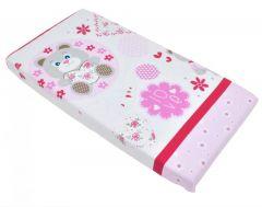 Cearceaf din bumbac cu elastic Pink Bear with Flowers 120x60 cm