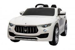 Masinuta electrica Maserati Levante  cu scaun de piele si roti de cauciuc White