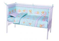 Lenjerie patut cu 5 piese Sleepy Little Bear Turquoise 018