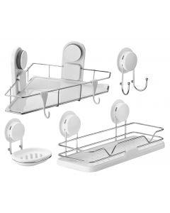 Set accesorii baie cu ventuza HeavyLock performanta, 4 piese (etajera + etajera de colt + suport sapun + carlig dublu)